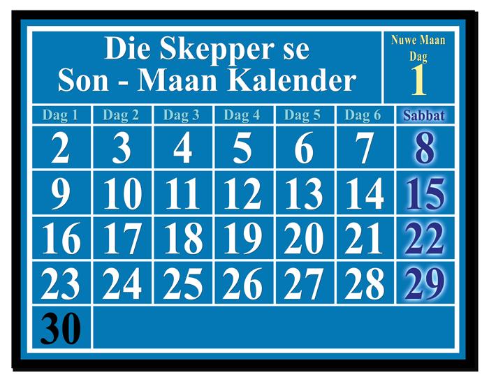Maan – Son Kalender wat die Dag van die Nuwemaan en Sabbatte aandui