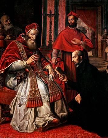 "Depiction of Pope Paul III and Ignatius Loyola, founder of the Jesuit Order (also known as the ""Society of Jesus"")."