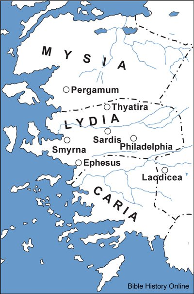 mapa ukazuje 7 církví ze Zjevení