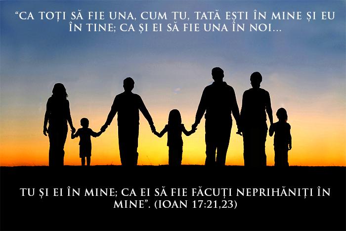 familie ținându-se de mână; Ioan 17:21, 23