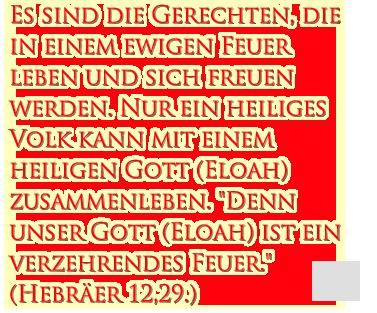 """Es sind die Gerechten, die in einem ewigen Feuer leben und sich freuen werden. Nur ein heiliges Volk kann mit einem heiligen Gott (Eloah) zusammenleben. """"Denn unser Gott (Eloah) ist ein verzehrendes Feuer."""" (Hebräer 12,29.)"""