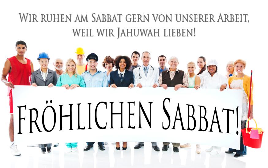 """Eine Menschengruppe hält ein Banner mit der Aufschrift: """"Fröhlichen Sabbat!"""""""