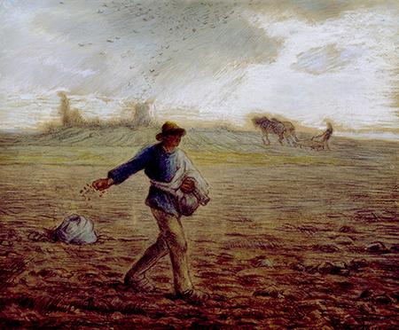 让弗朗索瓦米勒的油画-耕种者