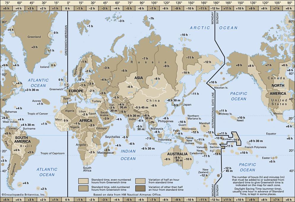 خط التوقيت الدولي على خريطة العالم مع المناطق الزمنية