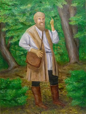 Oil painting of artist's conception of the Anabaptist leader Michael Sattler preaching in the woods.