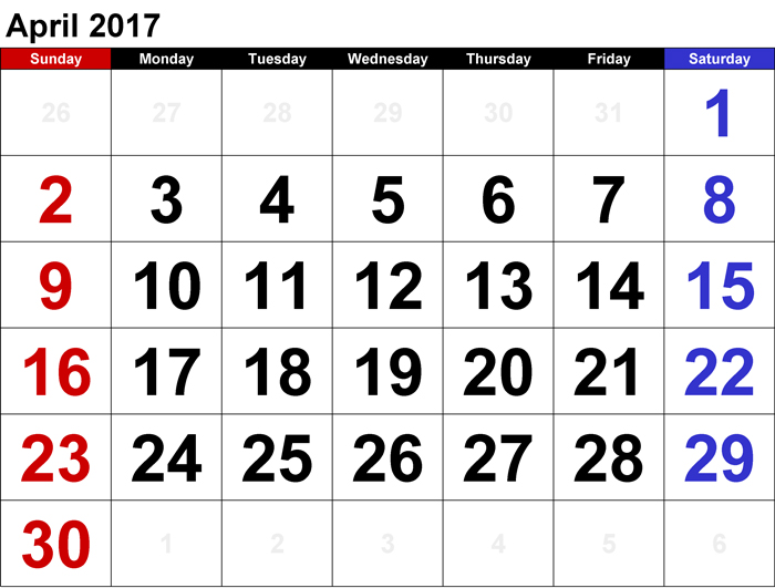 bulan April tahun 2017
