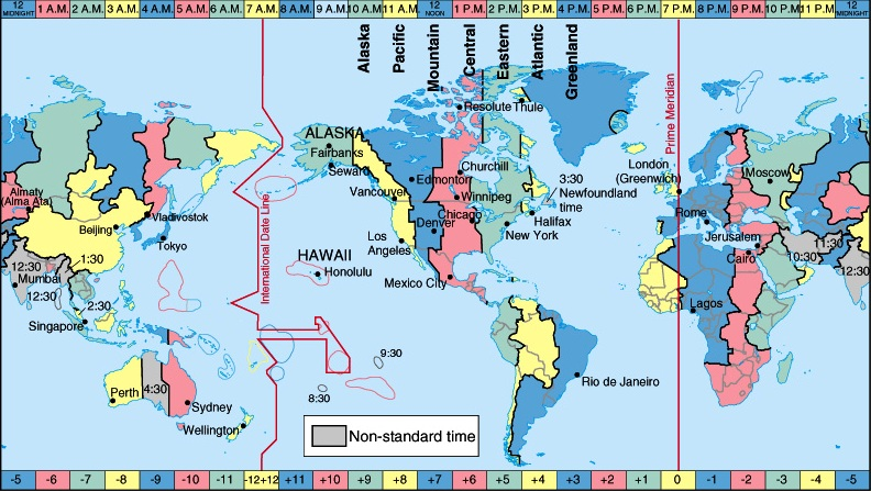 Sebuah peta dunia yang menunjukkan jalur Garis Tanggal Internasional, bergaris zig-zag melintasi Samudera Pasifik.