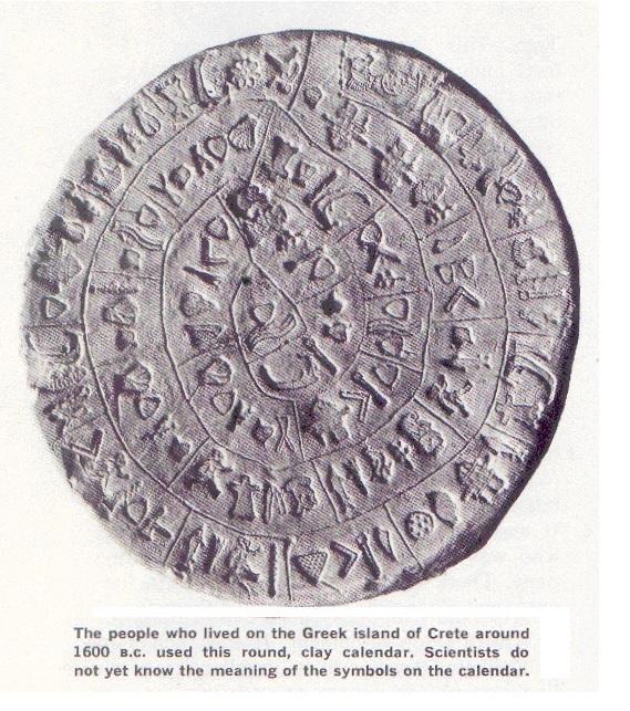 ranný řecký kalendář z doby okolo 1600 př.n.l