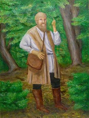 Olie verf skildery van `n kunstenaars voorstelling van die Anabaptiste leier, Michael Sattler wie in die woude preek.