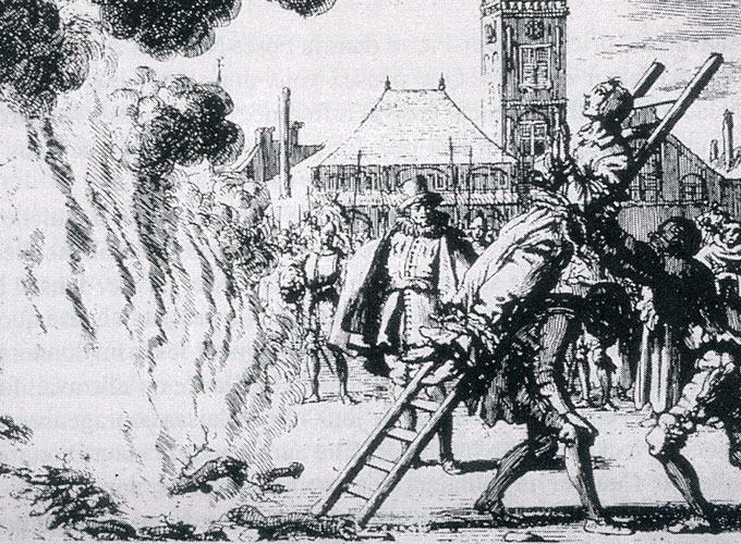 Michael Sattler tied to a ladder and thrown into a fire