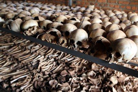 ostatky obětí Rwandské genocidy