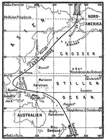 Linia Internațională a Datei trasată în 1888
