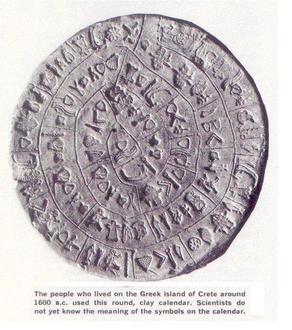 Ein früher Kalender aus Griechenland (um ca. 1600 v. Chr.).