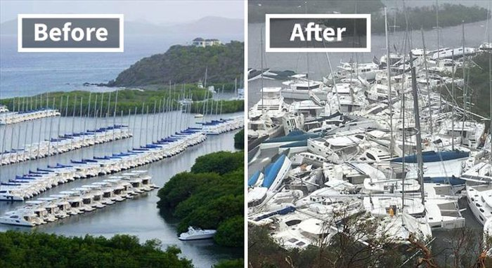 Paraquita Bay na British Virgin Islands před a po hurikánem Irma.