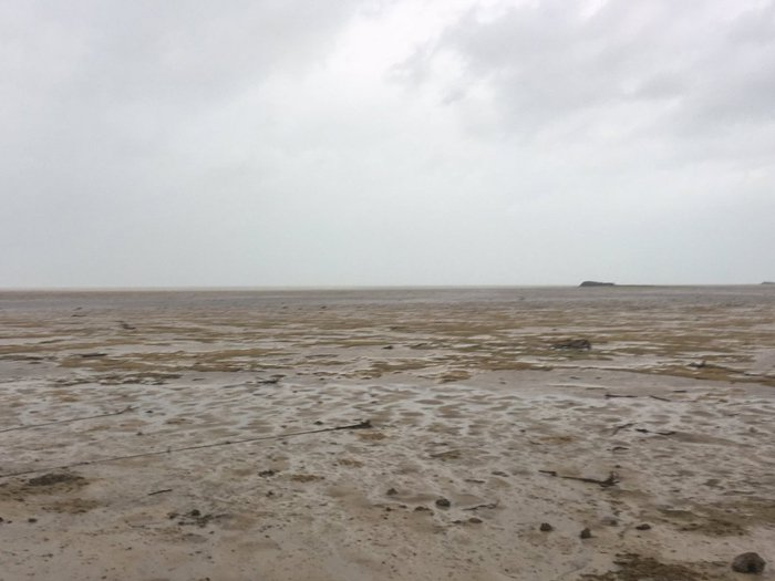 Foto vložené na Twitter uživatelem Adrianem 8. září 2017 ukazuje, jak oceán zmizel až kam oko dohlédne.