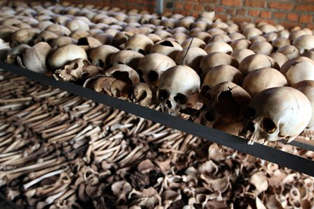 bones of the victims from the Rwandan Genocide