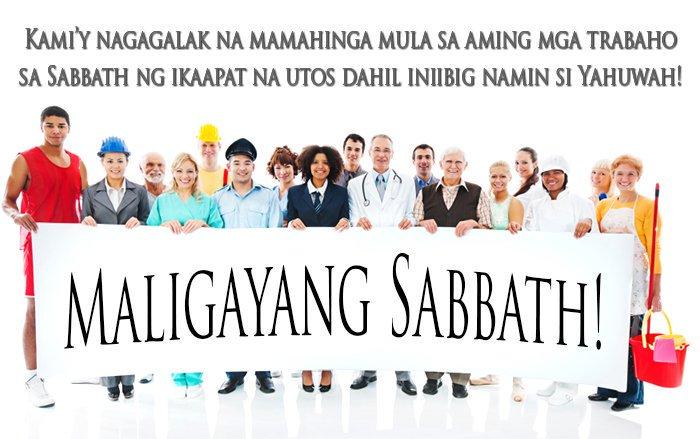 iba't-ibang pangkat ng mga tao na hawak ang bandila ng 'Maligayang Sabbath'