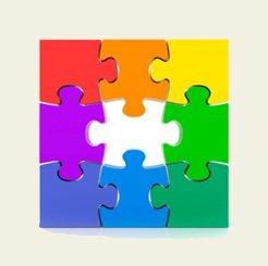 puzzle multicolore de 9 pièces, de couleur rouge, orange, jaune, vert clair, vert foncé, bleu ciel, bleu foncé /indigo, violet, avec une pièce manquante au milieu.