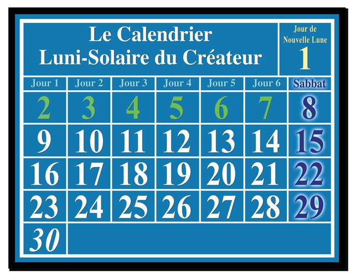 Calendrier Biblique luni-solaire: le Calendrier du Créateur. Nouvelle Lune et Sabbats