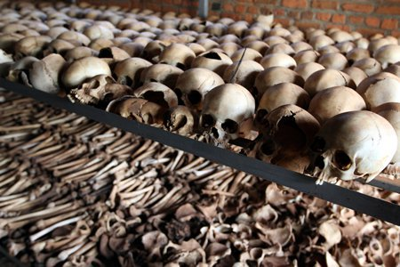 عظام ضحايا الإبادة الجماعية في رواندا