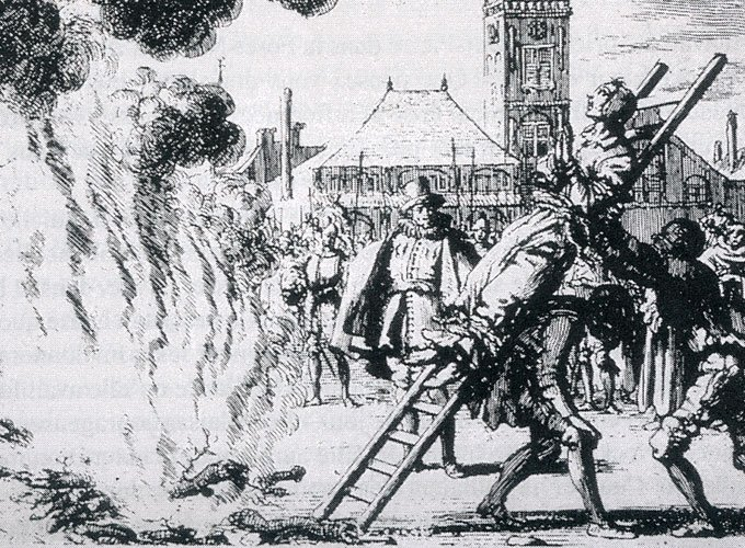 مايكل ساتلر مربوط بسلم وملقى في النار