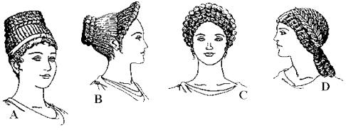 Tresses de femmes romaines: A B C D.
