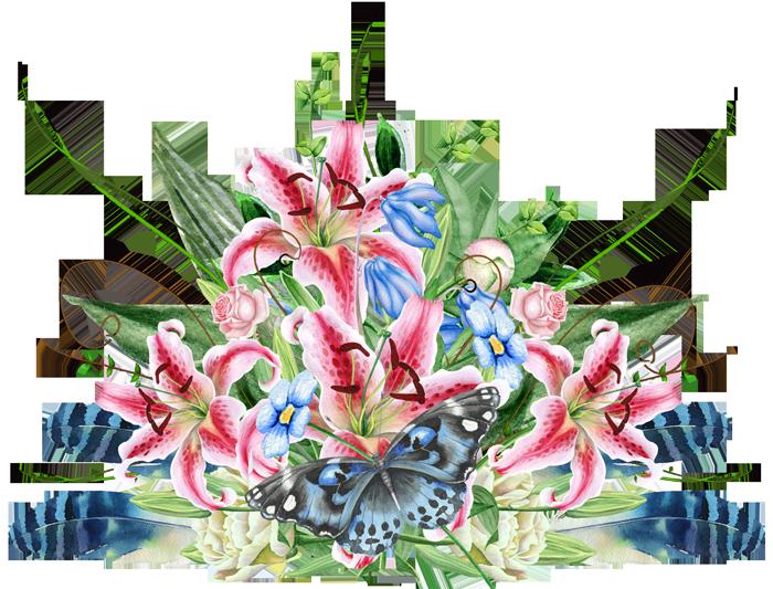 باقة من كل الزهور مع فراشة وريش