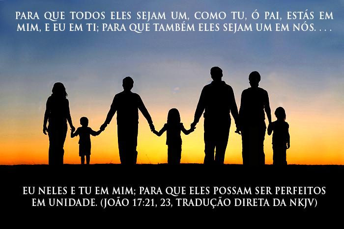 família segurando as mãos; João 17:21, 23
