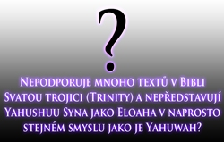 Nepodporuje mnoho textů v Bibli Svatou trojici (Trinity) a nepředstavují Yahushuu Syna jako Eloaha v naprosto stejném smyslu jako je Yahuwah?