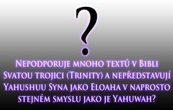Nepodporuje mnoho textů v Bibli Svatou trojici (Trinity) a nepředstavují Yahushuu Syna jako Eloaha v naprosto stejném smyslu jako je Yahuwah?