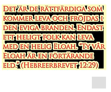 """Det är de rättfärdiga som kommer leva och fröjdas i den eviga branden. Endast ett heligt folk kan leva med en helig Eloah. """"Ty vår Eloah är en förtärande eld."""" (Hebreerbrevet 12:29)"""